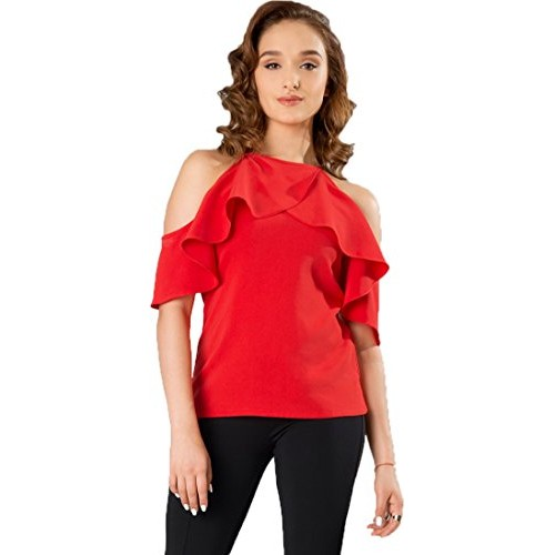 J B Fashion Women American Western Wear Crepe Red Color Top