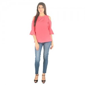 96904226864 STakriti1 American Crepe Coral Off Shoulder Cut Sleeves Top For Girls/Women